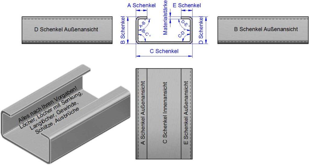 C-Winkel, C-Kantbleche, C-Profile nach Maß