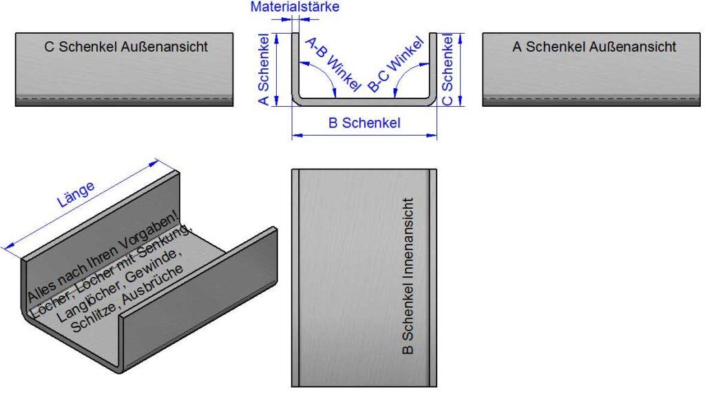 U-Winkel, U-Kantbleche, U-Profile nach Maß
