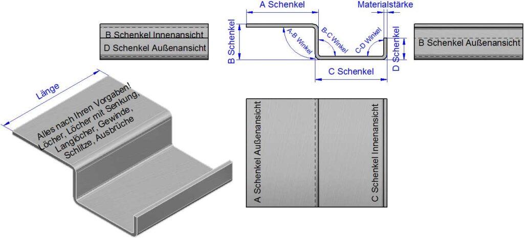 Z-Winkel, Z-Profile, Z-Kantbleche-Rueckantung nach Maß